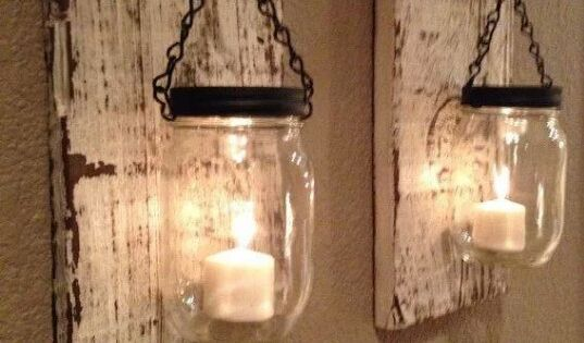 Wall candle holders ~ candleholder, interiors, homedecor, masonjars, 95e07907405ae567efe85fb8d169e5d4.jpg 570×760 pixels