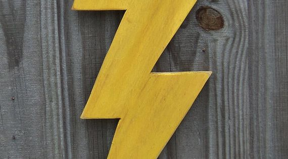 Wooden Lightning Bolt Thunder Storm Wall Decor By