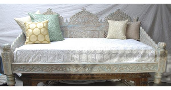 Carved Whitewashed Indian Daybed Bed Linens Luxury Simple Bed Bed