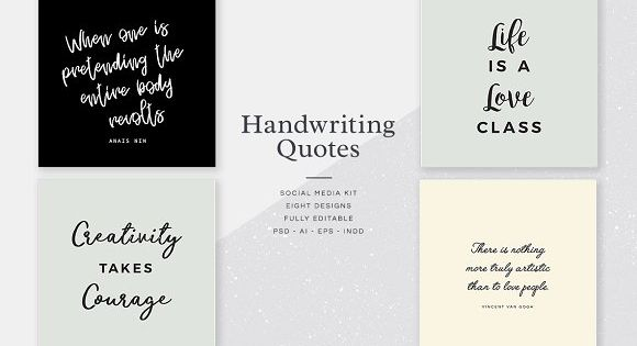 Handwriting Quotes Social Media Kit – typographic designs in a variety of stylish handwriting and script fonts.