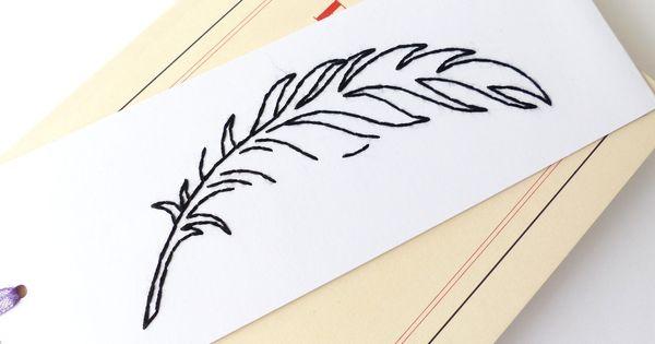 Marque page brod main motif plume noir accessoire maison for Accessoire maison design