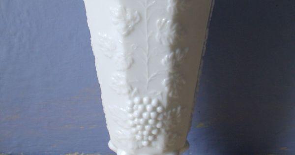 White Wedding Westmoreland Milk Glass Flower Vase Paneled Grape Pattern Vintage 24 00 Via