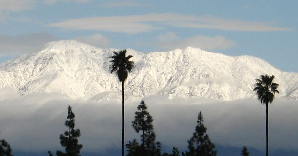 Southern California near Riverside during the winter, snow ...