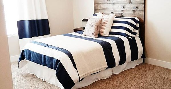 Boys Bedroom Navy Rugby Stripes Bedding Planked Wood