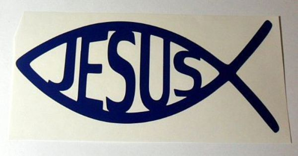 Christian fish symbol jesus vinyl decal sticker car window for Fish symbol on cars