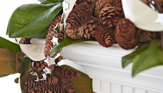 "Christmas mantel detail (from ""White Christmas: Lovely Virginia Home"" article on Traditional"