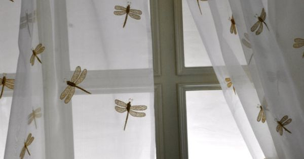Hand Embroidered Silk Sheer Curtain Dragonfly This