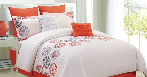 Orange And White Contemporary Floral Comforter Set Full- 8 Piece