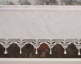 Shabby Chic Curtain With Crochet Floral Doilies French Cafe Curtain Farmhouse Country Curtain Lace Curtain Valance Height 40 Cm Perdeler Cicekli Desenler Tig Isleri