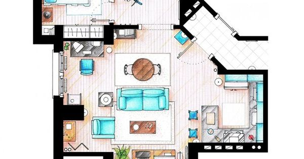 Hand Rendered Floor Plan Black And White