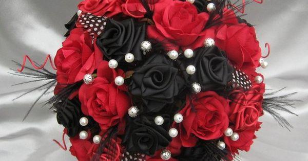 Arlequin Noir Rouge Et Blanc Bouquet De Mari E De Luxe Fleur Centres De Table Et Mari Es