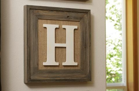 Burlap frame- can change pictures out easily-