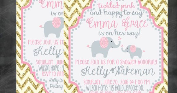 Tickled Pink Collection Baby Shower Invitation Gold