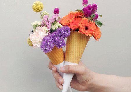 flower ice cream. flowers cone bloom