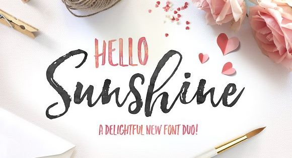 Hello Sunshine is a hand brushed typeface, with authentic tell-tale dry brush imperfections