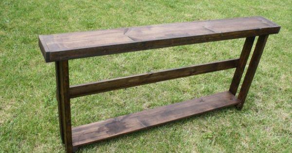 10 off sale beautiful dark walnut stained 70 inch long sofa table w bottom shelf wider legs. Black Bedroom Furniture Sets. Home Design Ideas