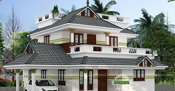 Beautiful 4 Bedroom Sloping Roof Home 1940 Sq Ft Kerala House Design Duplex House Design Unique House Design