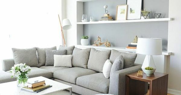 Grau Wandfarbe Hellgraues Sofa Wei E Regale Wohnzimmer Pinterest Living Rooms Room And