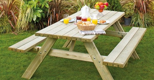 Picnic Tables For Inside The Home Grange Rectangular Wooden Garden Picnic Table With Fold Up Seats Wooden Garden Table Wooden Garden Furniture Garden Table