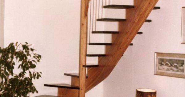 escalier bois sans contre marches, limon central lamellé-collé ...