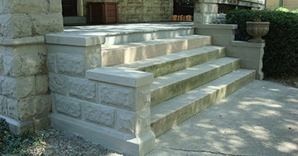 Hometown Porch Renovation Classic Rock Face Block In 2020 Rock Face Front Porch Steps Porch Steps