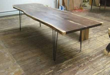 Walnut Live Edge Slab Table With Hairpin Legs Slab Table Live Edge Slab Table Live Edge Dining Table