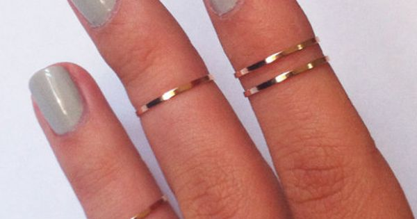 Above the Knuckle Rings - rose gold copper filled thin shiny bands