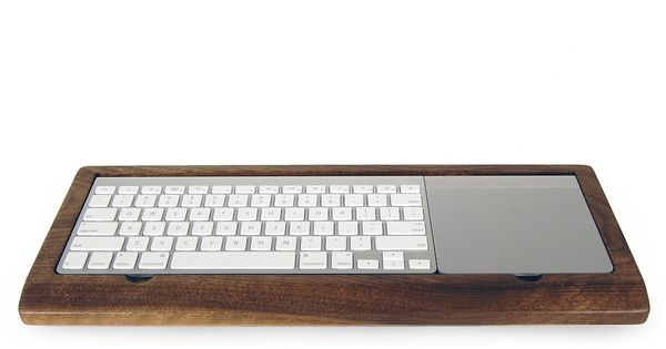 Wooden Mac Keyboard Tray with hidden storage for stationery and USBs, by