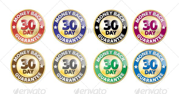 Vector 30 Day Money Back Guarantee Icon Set 8 Icons Layeredeps 8 Color Variations Ideal For Websites And Screen Appl Icon Set Vector Icon Set Vector Icons