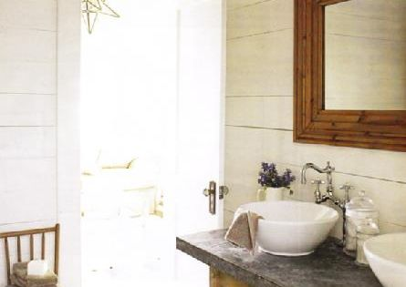 Rustic Bathroom With White Washed Paneled Walls! Rustic