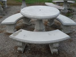 Round Concrete Table Set With 3 Benches