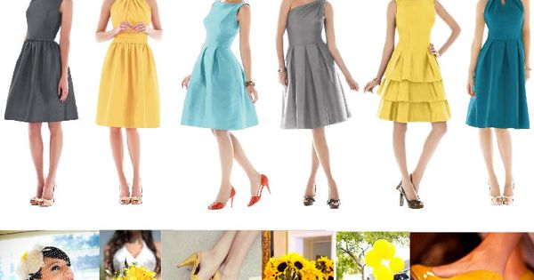 Grey and yellow wedding colors + bridesmaids dresses