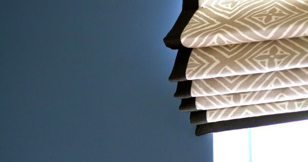 Patterned Outside Mount Roman Shade With Contrast Trim On
