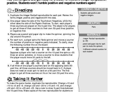 integer football fun worksheets worksheets and thanksgiving. Black Bedroom Furniture Sets. Home Design Ideas