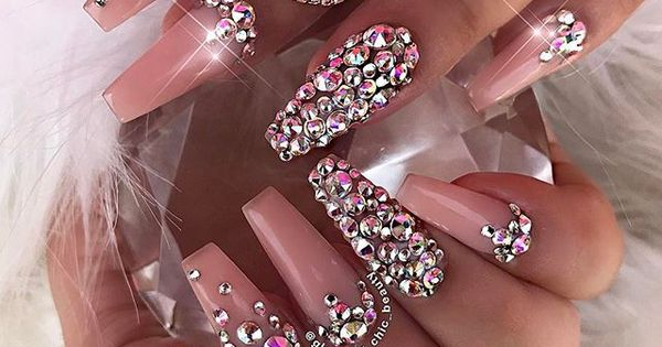 Love these blush colored rhinestone coffin nails. Acrylic ...