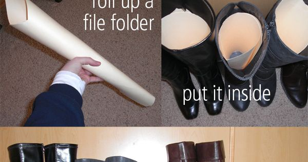 DIY Make your boots stand up straight with just a file folder.