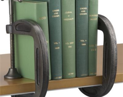Clamp bookends- Great idea for a boys room!