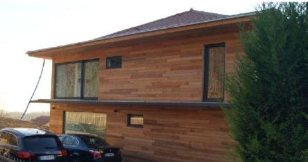 pose du bardage bois sur les facades d 39 une maison ossature m tallique maison ossature. Black Bedroom Furniture Sets. Home Design Ideas