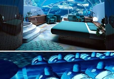 Poseidon Resort in Fiji. You can sleep on the ocean floor, and you even get a button to feed the fishies right outside your window... on the bucket list.... They also have underwater hotels in Florida, California, and Dubai