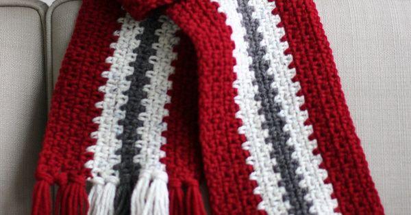 Crocheted Men S Stripe Scarf Men S Scarf Free Crochet