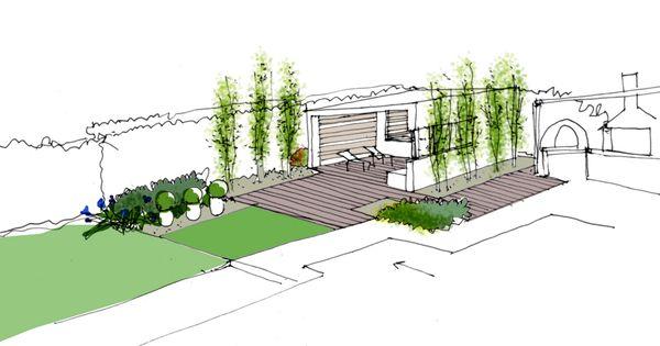 Dibujo del proyecto de dise o de jardin con pabell n by la for Planos de jardines pequenos