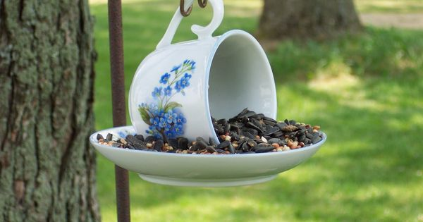 bird bath cups saucers | Tea cup & saucer bird feeder. |