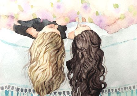Best Friends Art - Sisters - Watercolor Painting Print 8x10 | by Heatherlee Chan | Lady Poppins | $20.00 www.etsy.com/...