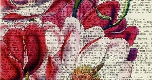 Print colorful or vintage graphics onto old book pages. Really beautiful
