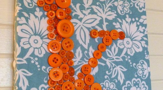 Custom Button Letter Wall Art Orange by letterperfectdesigns, $55.00 - cute for