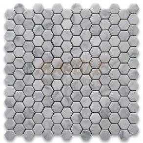 Carrara Marble Tile Italian White Carrera 1 Inch Hexagon Mosaic Polished Hexagonal Mosaic Hexagon Mosaic Tile Mosaic Tiles