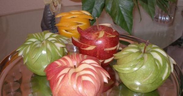Apple carving fruit garnish ideas pinterest