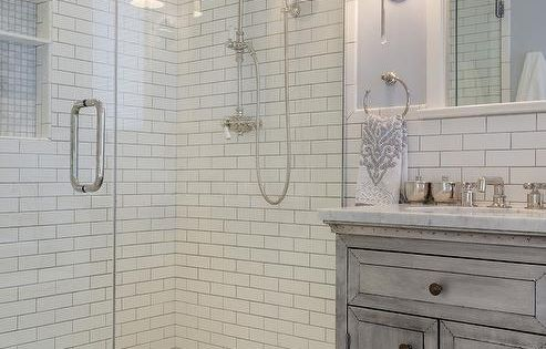 Fabulous Bathroom Features A Gray Distressed Washstand