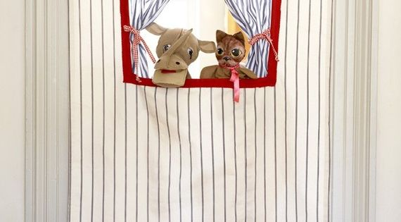 Doorway Puppet Theatre - use tension curtain rod -- This one Mom!