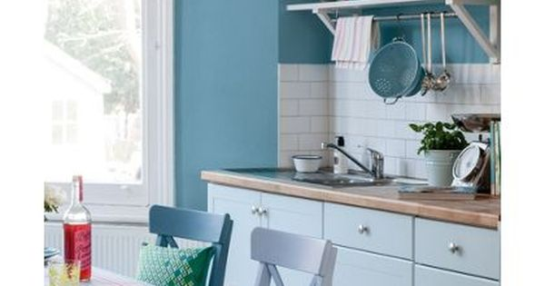 Dulux Kichen Stonewashed Blue Matt Emulsion Paint 2 5l Blue Kitchen Walls Kitchen Design Decor Kitchen And Bathroom Paint